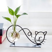 Cute Wrought Iron Cat Hydroponic Container Plant Glass Bottle Transparent Vase Flower Pot