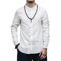 Stand Collar Foldable Sleeve Linen Loose Chinese Style Shirt for Men
