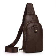 Men Crossbody Bag Outdoor Casual Cowhide Chest Bag