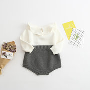 Soft Knitted Baby Girls Long Sleeve Romper Jumpsuit For 0-36M