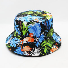 Striped Flamingo Pattern Cap Summer Outdoor Sunscreen Visor Fisherman Bucket Hat