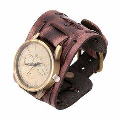 Montre vintage punk rétro à bracelet en cuir cadeau pour homme