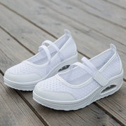 Large Size Women Daily Soft Mesh Rocker Sole Hook Loop Slip Resistant Shake Shoes