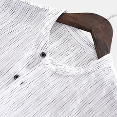 Mens Linen Cotton Striped Chest Pocket Long Sleeve Collarless Breathable Casual Shirts