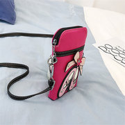 Women Embroidery Mini Phone Bags Cute Faux Leather Crossbody Bags