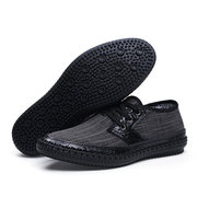 Tamanho grande homens lona costura Stitching Soft Sole Lace Up Casual Shoes