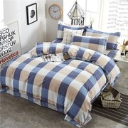 4Pcs INS Lattice Printed Quilted Bedding Set Soft Duvet Cover Sheet Pillowcases Full Queen King Size