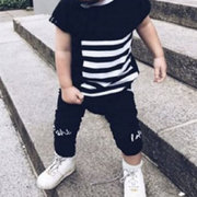 2Pcs Stripe Cool Boy Short Sleeve Casual Outfit Clothing Set For 0-24M