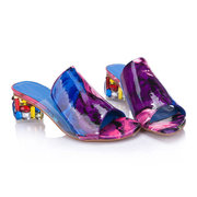 Colorful Crystal Mid Heel Transparent Jelly Casual Slippers