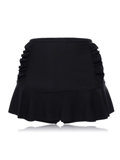 Plus Size Flounce High Waist Ruffled Solid Color Swimming Panty Bottom For Women