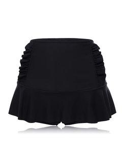 Parte superior de la braga de la natación del color sólido con volantes de la cintura alta del tamaño extra grande para las mujeres