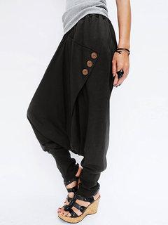 Casual Cross Wrap Button Solid Color Women Harem Pants