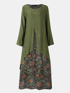 Vintage robe patchwork poche manches longues Plus taille maxi