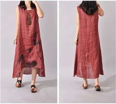 Ink Painting Literary Loose Cotton Linen Large Size Long Dress