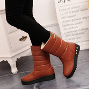 Slip On Mid Calf Wedges Warm Snow Boots
