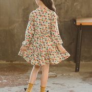 Flower Girls Casual Dresses Long Sleeve A Line Dress For 4Y-15Y