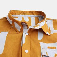 Mens impression chinoise poche poitrine baissez col chemises à manches longues