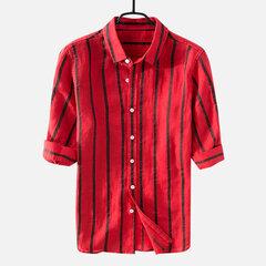 Mens Striped Cotton Halbarm Fashion Turndown Kragen Freizeithemd