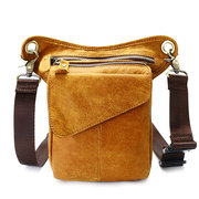 Ekphero Genuine Leather Waist Bag First Layer Leather Casual Vintage Crossbody Bag For Men