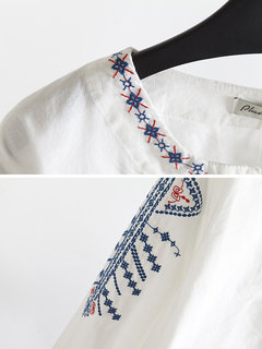 Ethnic Style Embroidery Loose Long Sleeve Blouse