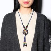 Ethnische Blume Charm Keramik Bead Tassel Halskette einstellbar handgemachte Vintage Holz Halskette für Frauen