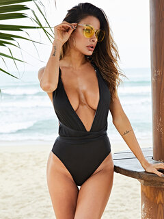 Plus Size Slimming One Piece Sexy Deep V Criss Cross Backless Women Swimsuits By Newchic