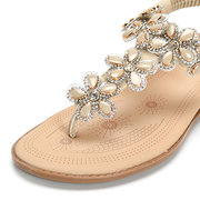 Beaded Flower Clip Toe Crystal Flat Elastic Beach Sandals