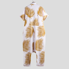 Mens Hawaii Style Leaves Print Beach Jumpsuit Thin White Loose Zip Up Beachwear Hanging Pants