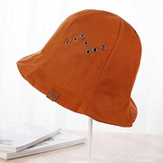 Women Solid Wide Brim Sunshade Fisherman Hat Casual Breathable Foldable Bucket Cap
