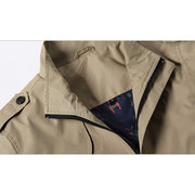 Mens Autumn Fashion Casual Solid Color Slim Fit Stand Collar Jacket
