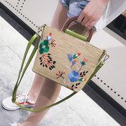 Women Embodied Straw Beach Crossbody Bag