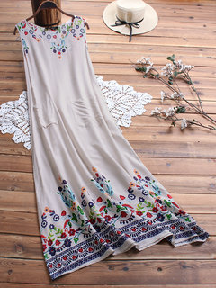 Summer Flower Print Sleeveless Plus Size Vintage Dress with Pockets