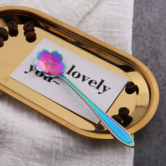 Stainless Steel Rainbow Flower Spoon Tableware Coffee Tea Bar Spoon Stirring Sugar Spoon