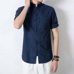 Camisas de lino Diseño retro estilo chino para hombres con bolsillo