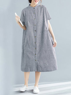 Casual Plaid Stand Collar Button Short Sleeve Dress