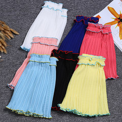 Pleated Patchwork Wide Leg Shorts For Kids Girls