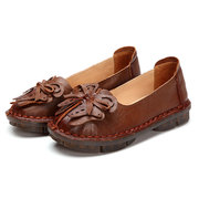 SOCOFY Bowknot Leather Soft Slip On Flat Vintage Loafers