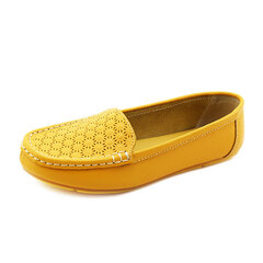 Egg Roll Leather Folded Slip On Flat Hollow Out Breathable Loafers