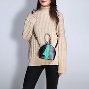 Femmes Vintage Mini-sac à bandoulière PU cuir gland décoration Shell sac à main