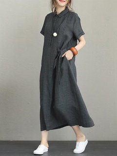 Vintage Turn-down Collar Side Pocket Drawstring Dress