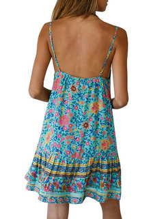 Spaghetti Straps Floral Print Backless Dress For Women