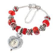Reloj de pulsera colgante de cristal con cuentas de cristal dulce corazón para mujeres regalo para niñas