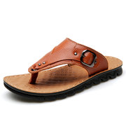 Men Pure Color Leather Metal Buckle Casual Beach Slippers