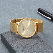 CRRJU Ultra Thin Mens Watches Stainless Steel Mesh Strap Business Casual Gold Watches for Men