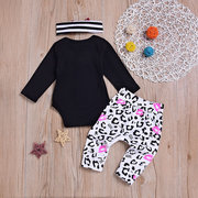 3Pcs Halloween Baby Girls Clothes Set Romper + Pants + Headband For 0M-24M
