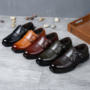 Men Microfiber Leather Cap Toe Non-slip Double Monk Shoes