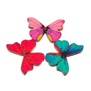 50pcs 2 Holes Colorful Butterfly Wooden Buttons Fit Sewing and Scrapbooking 28x21mm Sewing Buttons
