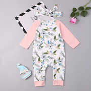 Floral Printed Comfy Cotton Baby Long Sleeve Romper with Headband For 0-24M
