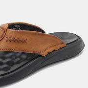 Men Genuine Leather Non Slip Clip Toe Casual Beach Slippers