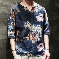 Mens Ethnic Style Tie Dye Half Sleeve Casual Fashion Printing T shirt